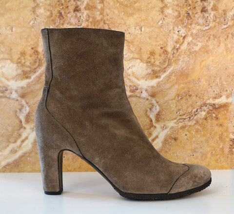 ROBERTO DEL CARLO 39 Olive Brown Suede Crepe Sole Ankle Boots 8.5