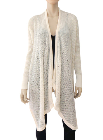DKNY Open Weave Iridescent Ivory Cotton Blend Draped Cardigan PS