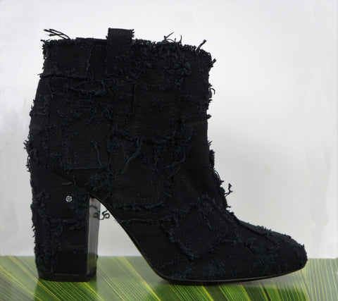 LAURENCE DACADE 40 Pete Black Patchwork Canvas Ankle Boots 9.5 BRAND NEW