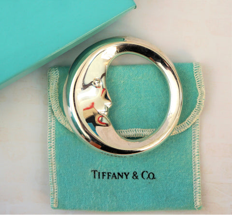 TIFFANY & Co. Man in the Moon Baby Rattle Sterling Silver 925