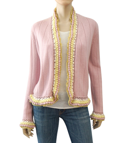 CHANEL 04C Long Sleeve Pink Cashmere Cotton Open Front Cardigan Sweater 48 US 16