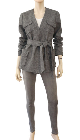 ANNELORE Black White Wool Tweed Belted Wrap Jacket 10 NEW