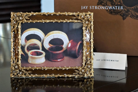 JAY STRONGWATER Gold Floral Brown Enamel Frame 5x7 NEW IN BOX
