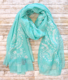 BARNEYS NEW YORK Wrap Turquoise Blue White Printed Scarf Pareo XL New With Tags