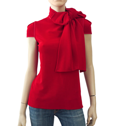 GIORGIO ARMANI BLACK LABEL Red Cap Sleeve Top 46 US 14 NEW WITH TAGS
