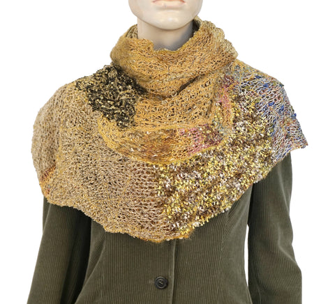 CORRELL CORRELL Multicolor Crochet Knit Patchwork Hooded Scarf Snood NEW