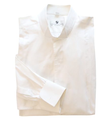 FREDERICK THEAK Mens White Cotton Dress Tuxedo Shirt French Cuffs Pleated 17 1/2