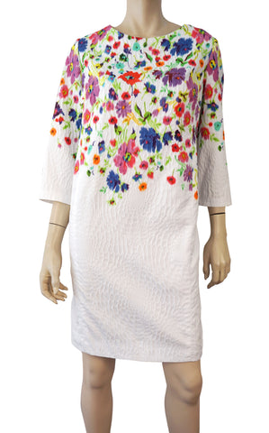 OSCAR DE LA RENTA R17 3/4 Sleeve White Floral Shift Dress 16 BRAND NEW