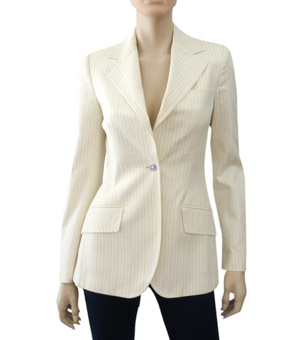 DOLCE & GABBANA Pinstriped Ivory Cotton Single Button Blazer Jacket 40 US 4