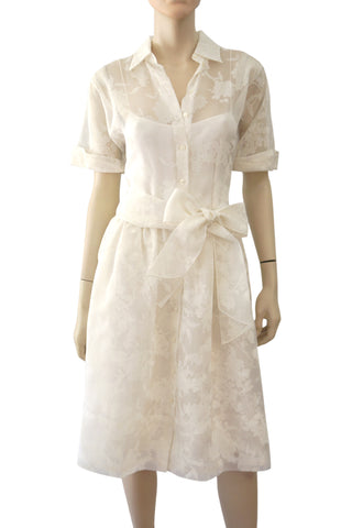 RALPH LAUREN BLACK LABEL White Floral Silk Organza Shirt Dress 12