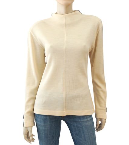 CLAUDE MONTANA Vintage Ivory Wool Knit Strong Shoulder Top Sweater 8
