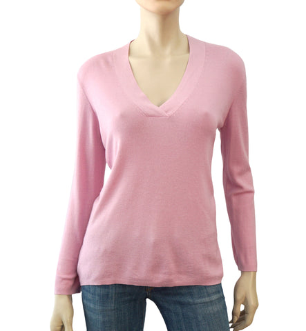 AKRIS Long Sleeve Pink Cashmere Pull Over Sweater 46FR 14 US