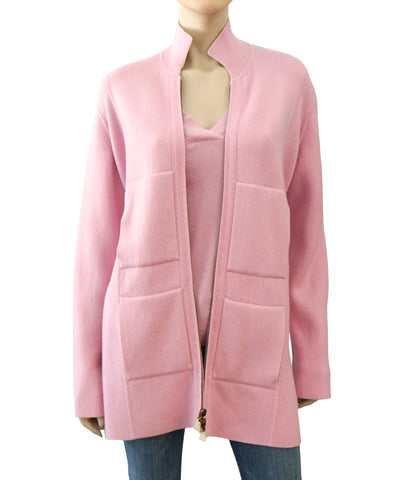 AKRIS Reversible Pink Beige Cashmere Cardigan Sweater Zip Front 40 US 8