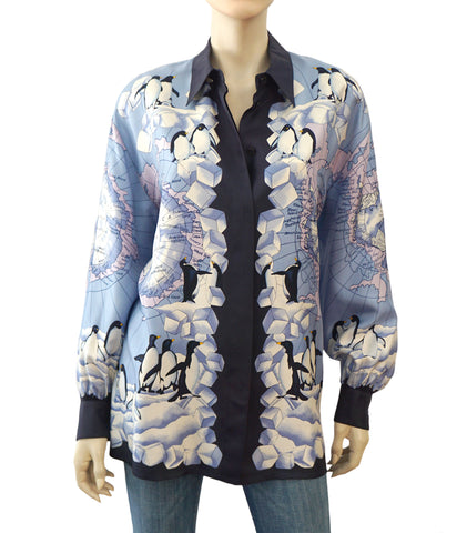 ESCADA MARGARETHA LEY Blue White Arctic Circle Penguin Print Silk Blouse 14 NEW