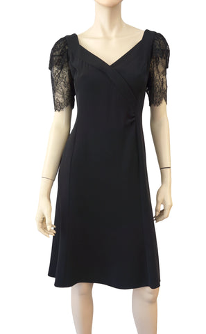 GIORGIO ARMANI BLACK LABEL Lace Sleeve Stretch Crepe Fluted Dress 46 US 14
