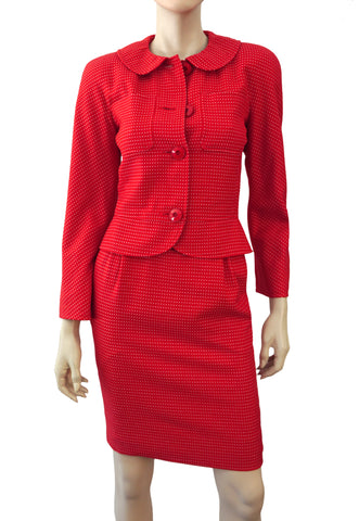 VALENTINO BOUTIQUE Vintage Polka Dot Red Wool Skirt Suit 0