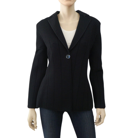 GIORGIO ARMANI BLACK LABEL Single Breasted Ottoman Weave Jacket Blazer US 10 12