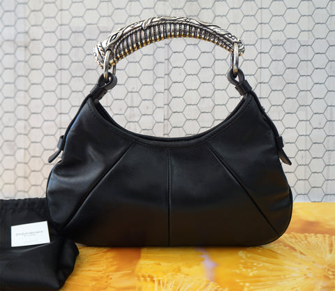 YVES SAINT LAURENT YSL Small Black Buffalo Leather Mombasa Silver Horn Hobo Bag