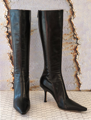 JIMMY CHOO 36.5 Peony Black Leather Point Toe Stiletto Knee Boots 6 MINT