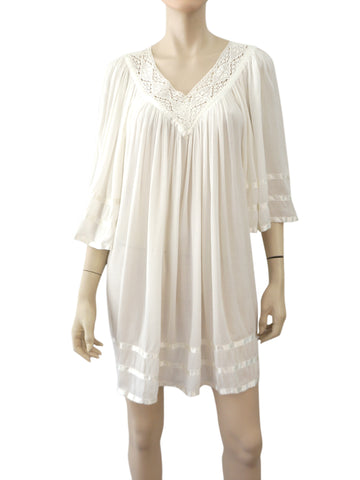 ANTIK BATIK White Cotton Gauze Swim Cover Up Mini Dress One Size