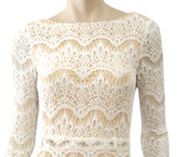 AGAIN Long Sleeve Elaine Cream Lace Backless Maxi Dress XS
