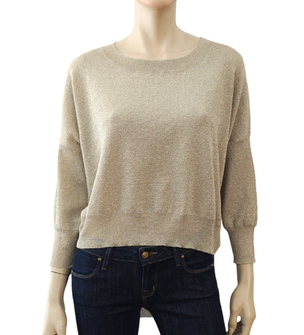 MES DEMOISELLES Long Sleeve Gold Sparkle High Low Layering Top Sweater L NWT