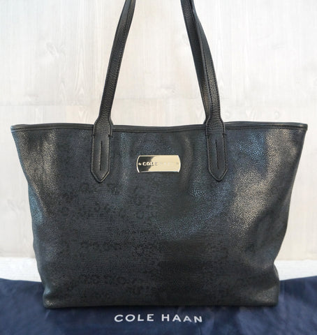 COLE HAAN Black Blue Leopard Print Leather Tote Bag