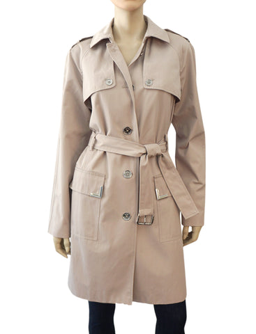 MICHAEL MICHAEL KORS Taupe Cotton Blend Belted Trench Coat L NEW WITH TAGS