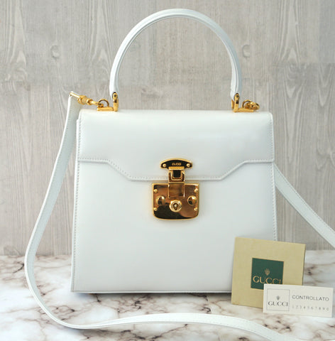 GUCCI Vintage White Glossed Leather Kelly Bag  Key and Clochette NEW in BOX RARE