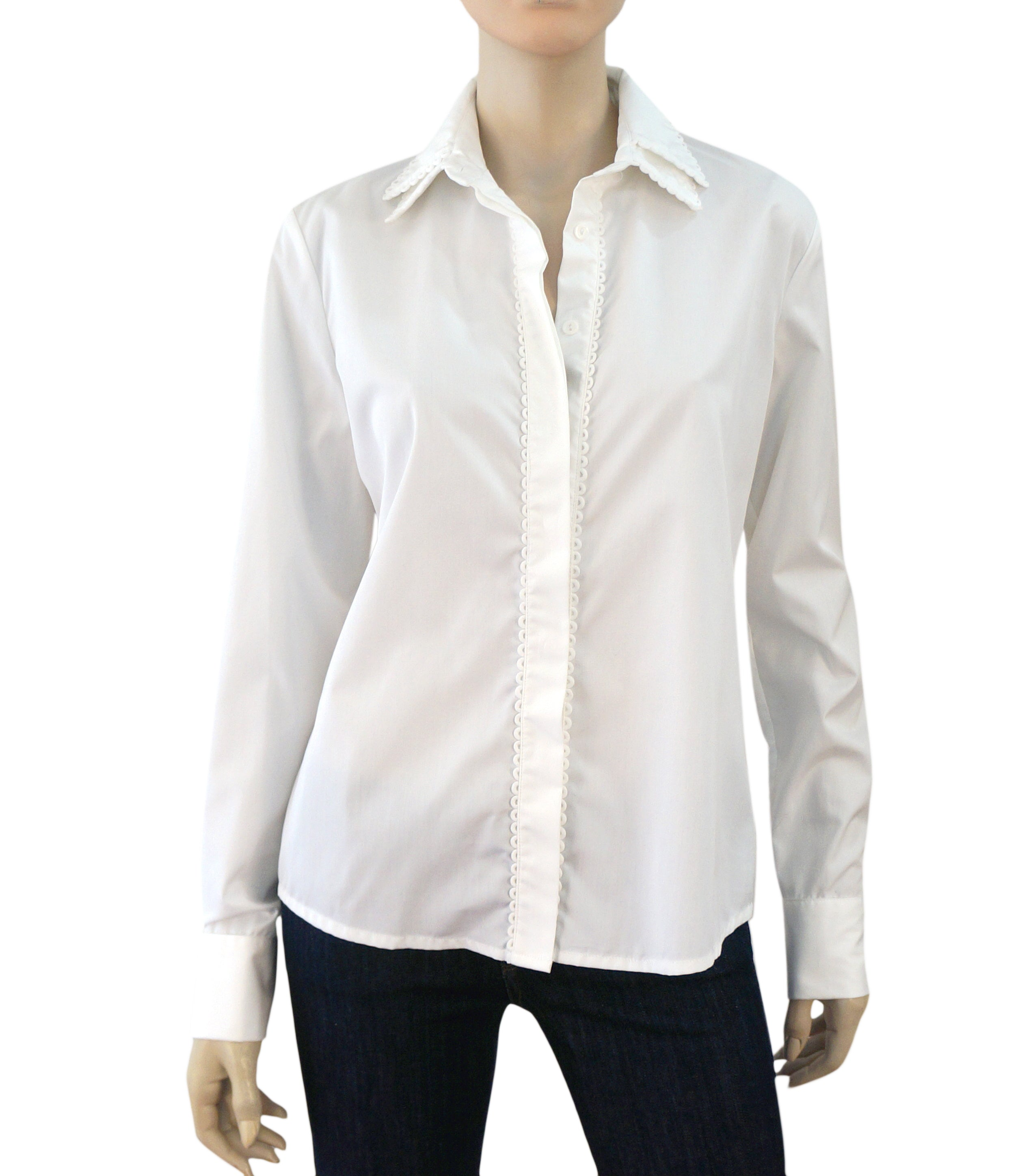 7fee2f2c3a6d11 RAYURE White Cotton Poplin Scalloped Double Collar Shirt Blouse 42 US 10 NEW