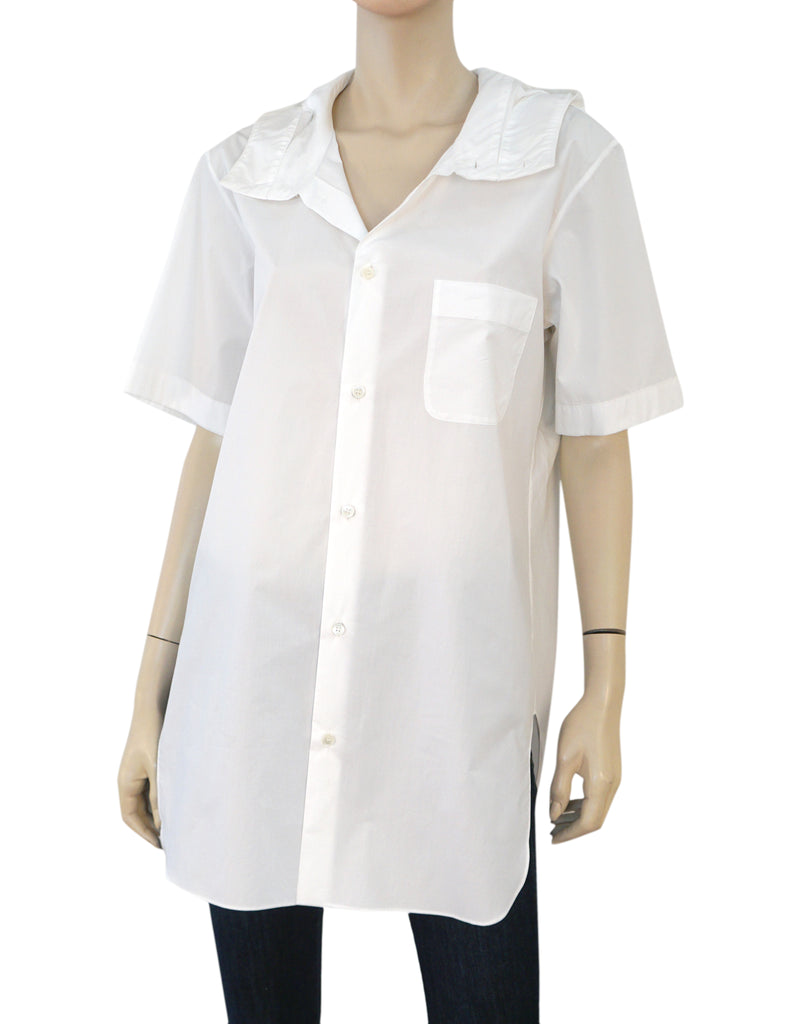 MARNI White Cotton Poplin Hooded Tunic Blouse Top 42 US 10 NEW