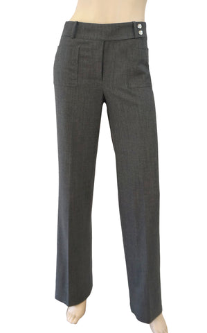 CELINE Gray Stretch Wool Straight Leg Tailored Pants FR36 US 4 NEW