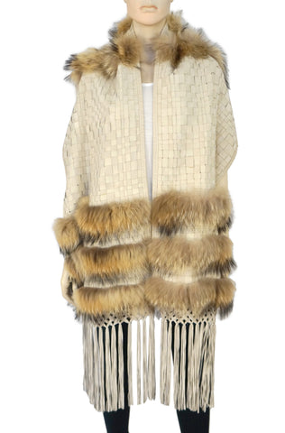 KERRY GRIMA Ivory Leather Suede Fur Woven Shawl Fringed Wrap Scarf XL NEW
