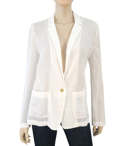 GIADA FORTE Sheer Linen Cotton Blend White Jacket Blazer L NEW