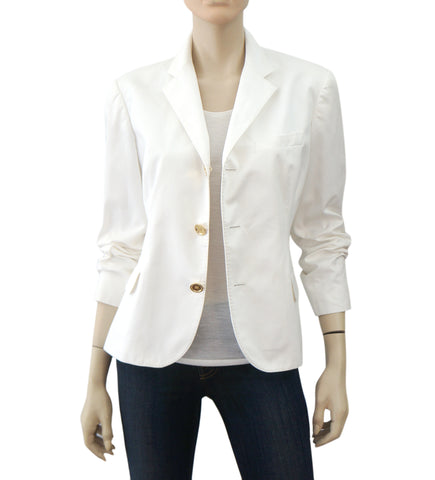 RALPH LAUREN BLACK LABEL White Cotton Poplin Blazer Jacket 12