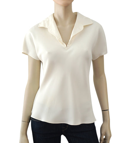 PETER COHEN Cap Sleeve Ivory Silk Blouse Top S