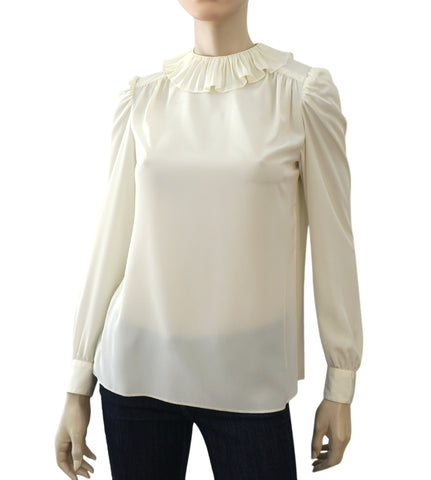 ST. JOHN Vintage Off White Ivory Crepe Ruffle Neck Button Back Blouse S