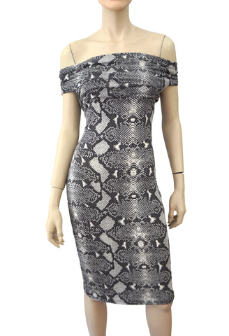 PIERRE BALMAIN Gray White Snakeskin Print Off Shoulder Jersey Dress IT 44 US 8