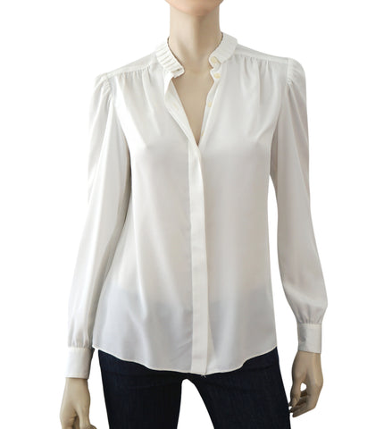 ST. JOHN Vintage White Ivory Crepe Pleat Collar Button Blouse Shirt Top 4