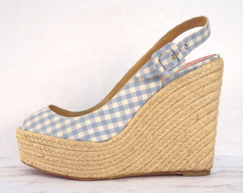CHRISTIAN LOUBOUTIN 39 Wedges Blue White Canvas Check Espadrilles Menorca 8 8.5