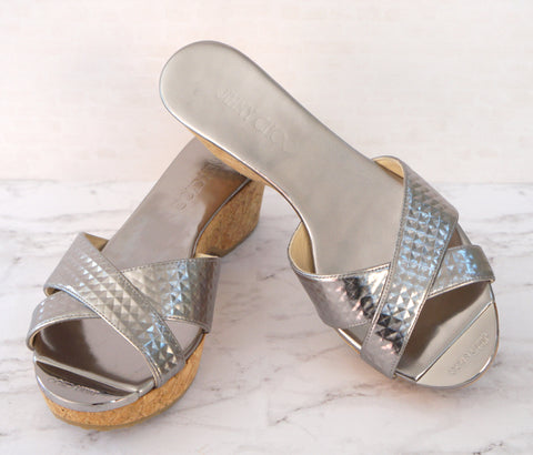 JIMMY CHOO 36.5 Panna Silver Gunmetal Leather Cork Sandals Slides 6 NEW