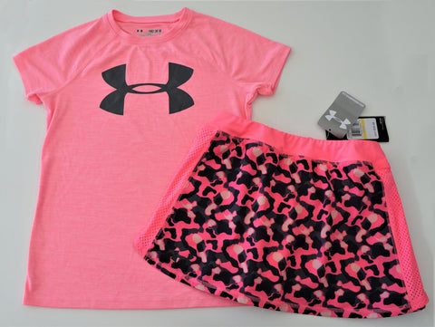 UNDER ARMOUR Girls Heat Gear Pink Logo T-Shirt and Camo Cheetah Skort YMD