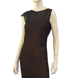 GIANFRANCO FERRE Asymmetric V-Back Silk Evening Dress, IT 40 / US 4
