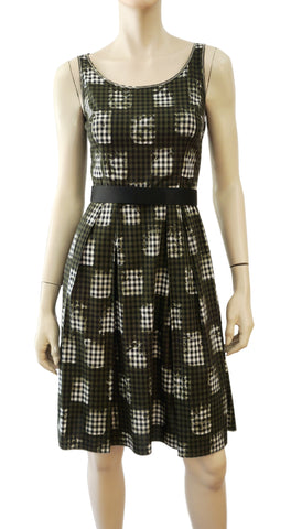PRADA Sleeveless Scoop Neck Gingham Check Cotton Dress 38 US 2