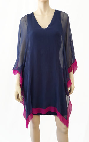 ANALILI Navy Blue Silk Overlay Cape Effect Dress M L NEW