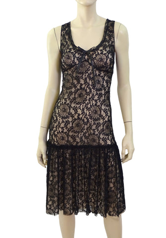 MOSCHINO Sleeveless Black Lace Cocktail Sheath Dress 44 US 8