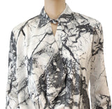 BALENCIAGA Women's Blouse IT40 White Gray Marble Print Long Sleeve Top 4 NEW
