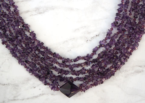 ESTATE Amethyst Multi Strand Pendant Necklace Collar Sterling Clasp 18 in