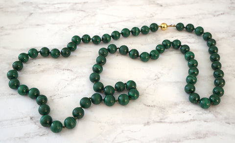 14K Gold Ball Clasp 11mm Malachite Bead Necklace 38 inches Schneider Juwelier