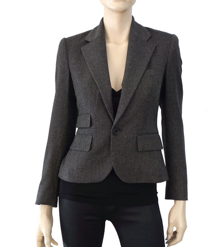 RALPH LAUREN PURPLE LABEL Cropped Black Gray Wool Tweed Blazer Jacket 4